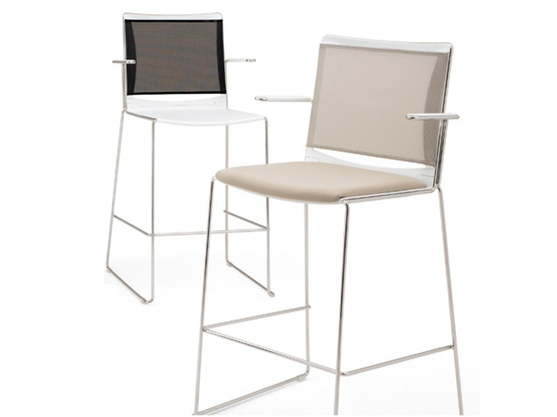 Counter stool with armrests S'MESH SOFT | Chair with armrests - Diemmebi