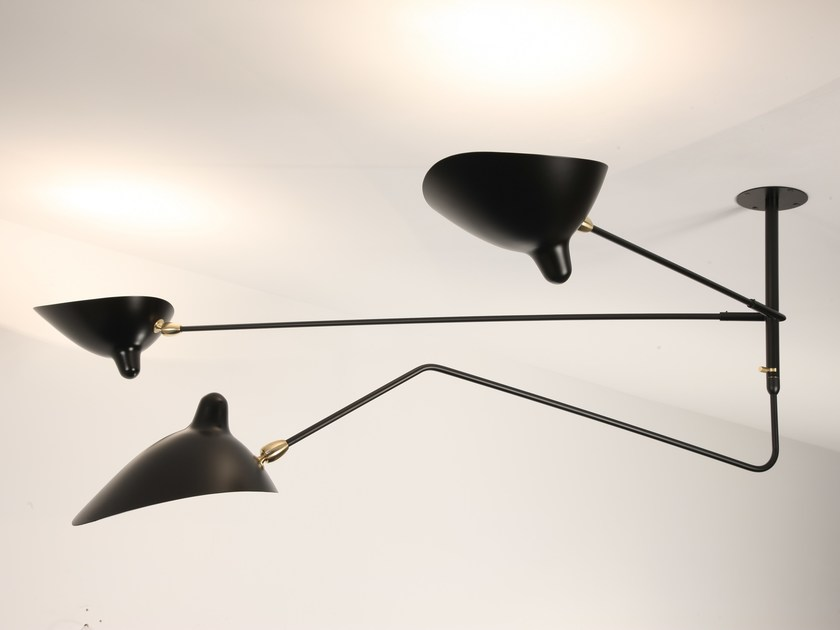 Direct-indirect light adjustable metal ceiling lamp S2B1C | Ceiling lamp - Editions Serge Mouille