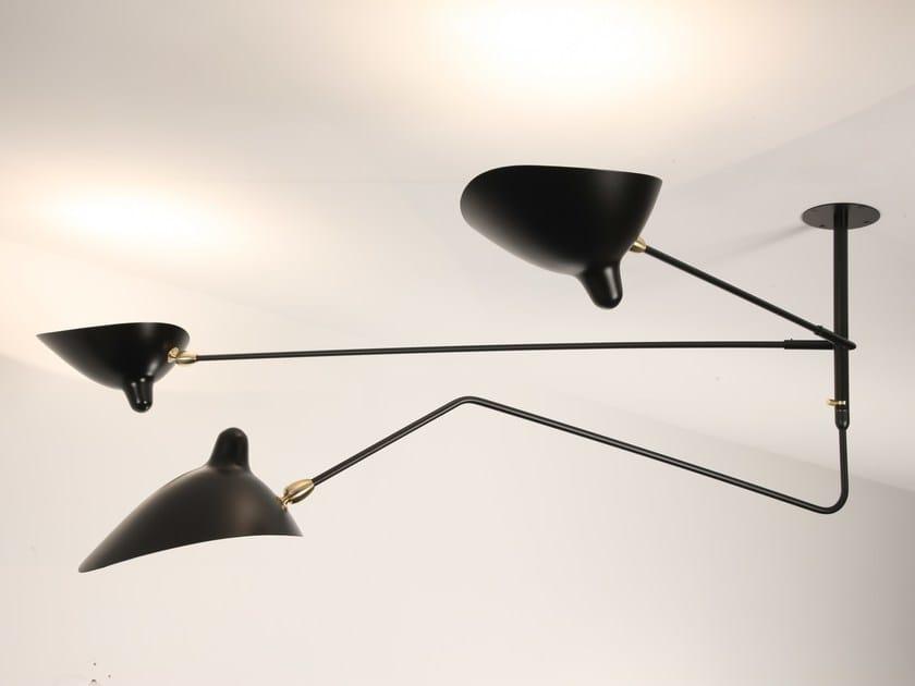 Lampada da soffitto a luce diretta e indiretta orientabile in metallo S2B1C | Lampada da soffitto by Serge Mouille