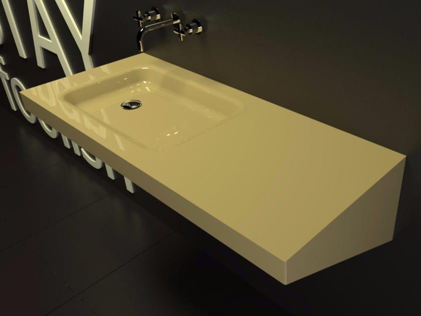 Rectangular wall-mounted washbasin with integrated countertop SADDLED - ZAD ITALY