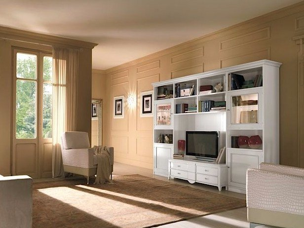 Freestanding solid wood TV wall system SALIERI | Lacquered storage wall by Arvestyle