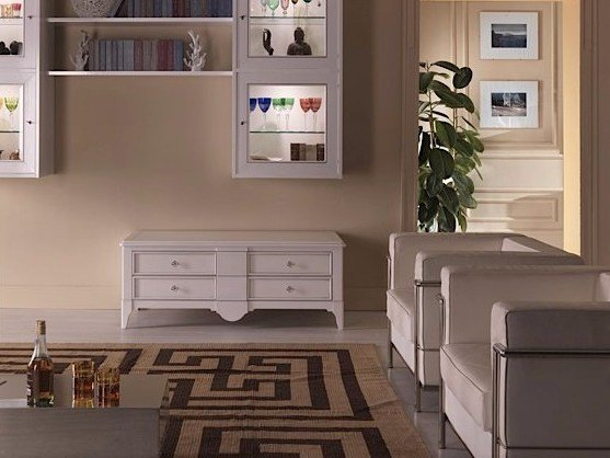 Solid wood TV cabinet with drawers SALIERI | Lacquered TV cabinet - Arvestyle