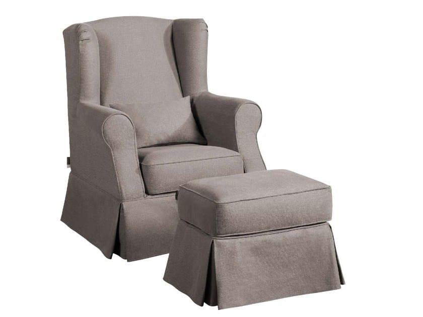 Fabric wingchair with armrests SALOMÉ | Armchair - Home Spirit