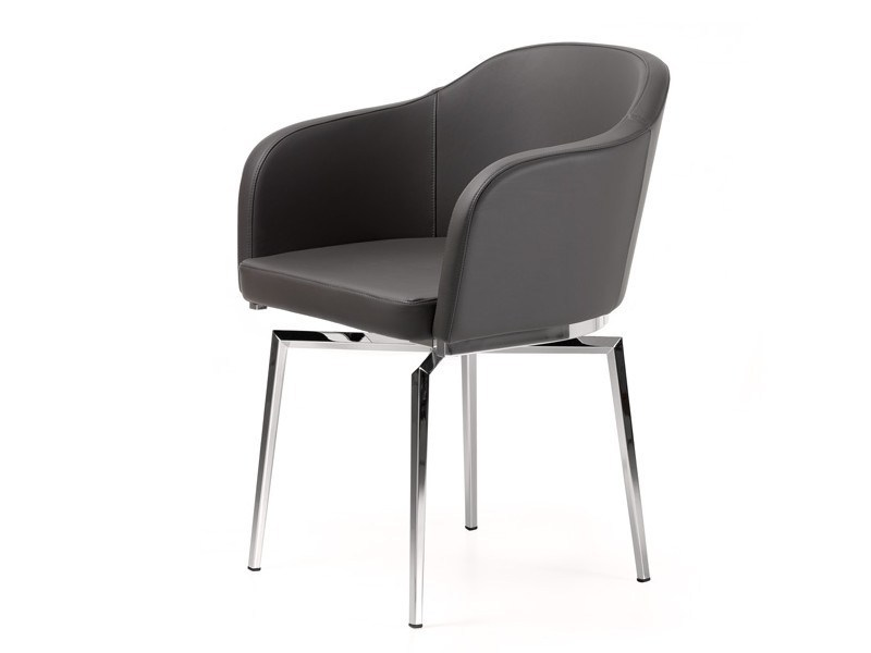Swivel upholstered easy chair with armrests SAMANTHA - Cattelan Italia