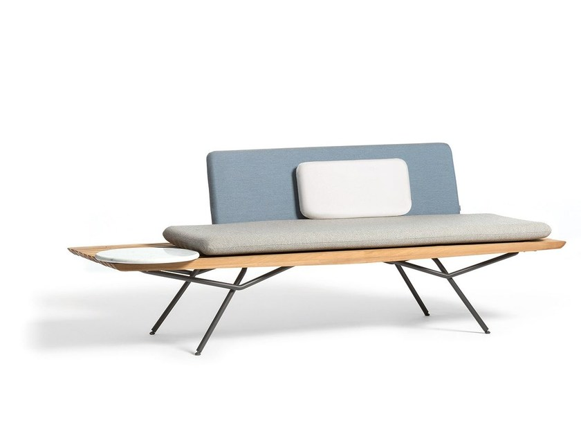 Iroko garden bench with back SAN | Garden bench by MANUTTI