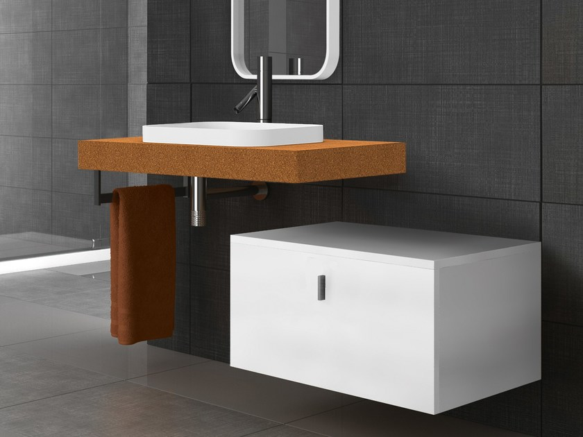 Rectangular washbasin with integrated countertop SAND | Rectangular washbasin - AMA Design