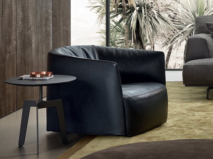 Upholstered leather armchair SANTA MONICA | Leather armchair by poliform