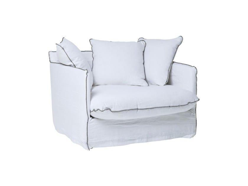 Poltrona in lino con braccioli SANTORINI | Poltrona - KARE-DESIGN