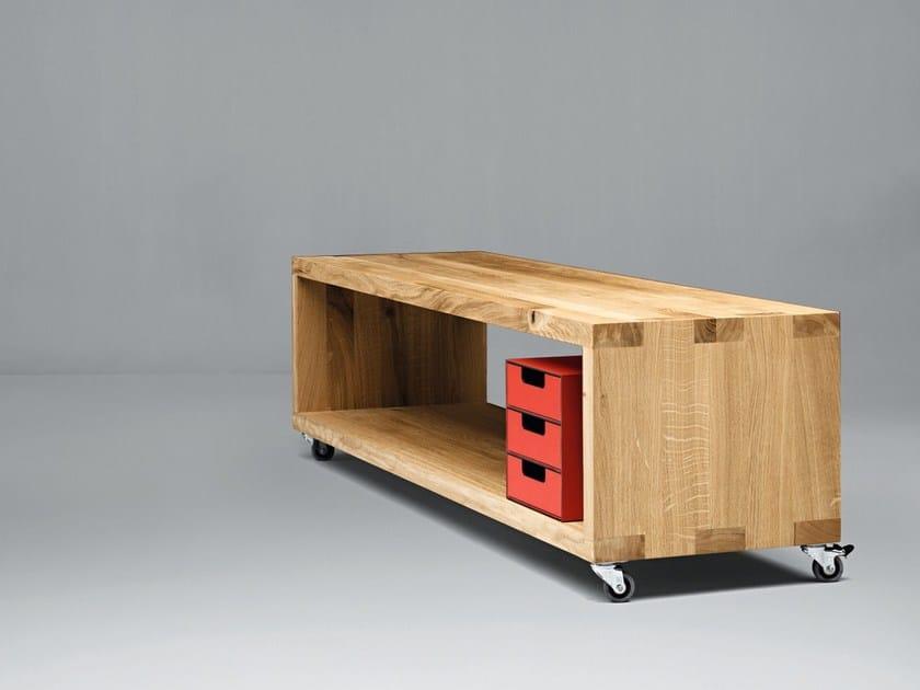 Mobile TV in legno con ruote SC28 by Janua