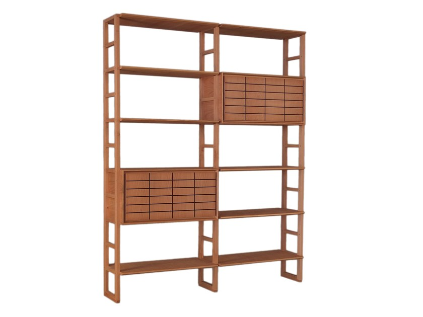 Open sectional cherry wood bookcase SCALA ZERO | Bookcase by Morelato