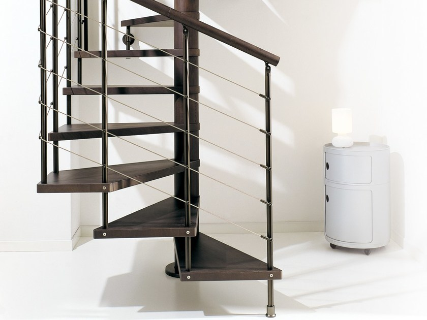 Steel and wood Spiral staircase SCENIK 040 | Spiral staircase - Fontanot Spa