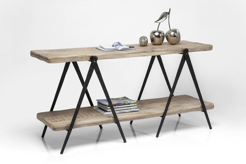 Rectangular steel and wood console table SCISSORS | Console table - KARE-DESIGN