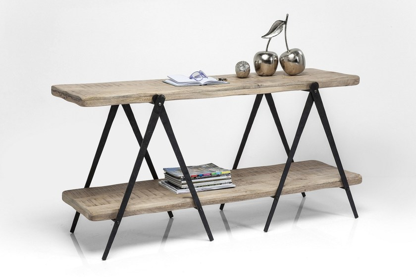 Rectangular steel and wood console table SCISSORS | Console table by KARE-DESIGN