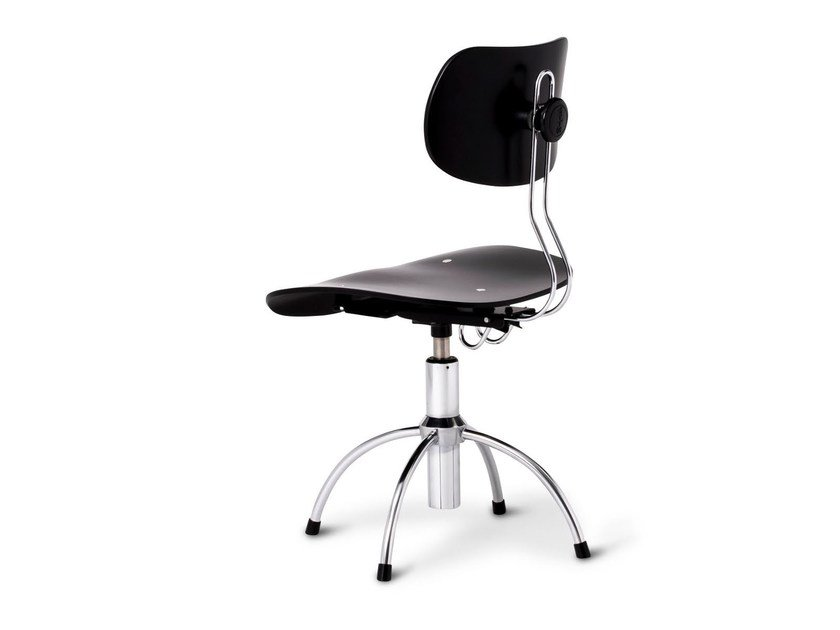 Height-adjustable swivel wooden task chair with 4-Spoke base SE 40 - WILDE+SPIETH Designmöbel