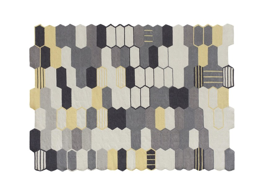 Patchwork rectangular wool rug SEAL by GAN