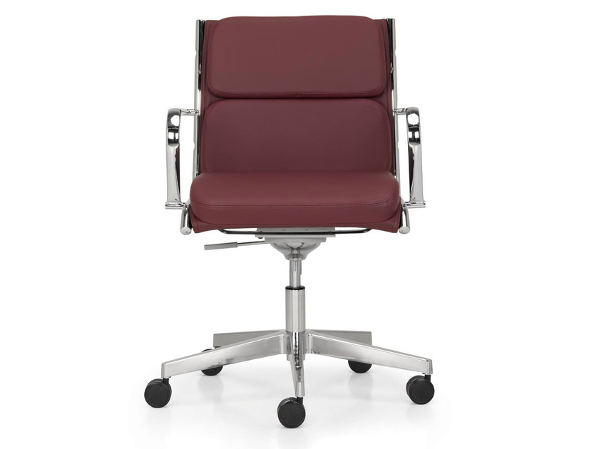 Height-adjustable leather task chair with 5-Spoke base with armrests SEASON COMFORT | Swivel task chair - Quinti Sedute