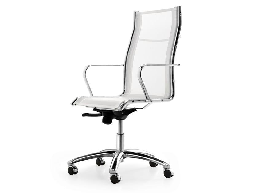 Sedia ufficio operativa ad altezza regolabile in rete a 5 for Sedute per ufficio