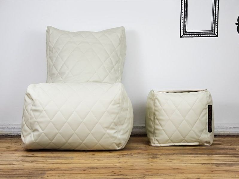 Leather bean bag SEAT QUILTED OUTSIDE - Pusku pusku