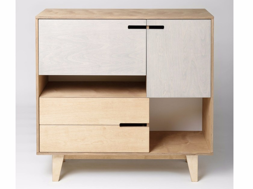 Plywood highboard with drawers SECRETARY MIX - Radis