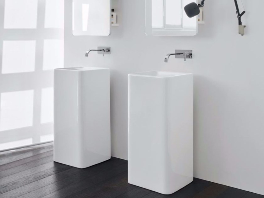 Freestanding square ceramic washbasin SEMPLICE | Freestanding washbasin by Nic Design
