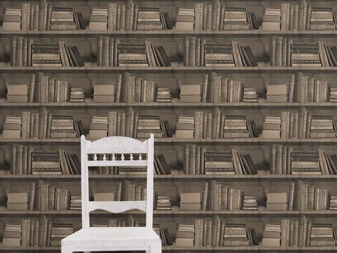 Wallpaper SEPIA BOOKSHELF - Mineheart