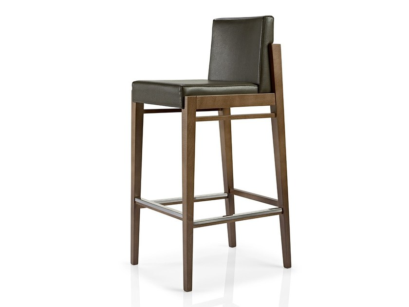 Leather counter stool with footrest SERENA | Counter stool by JMS