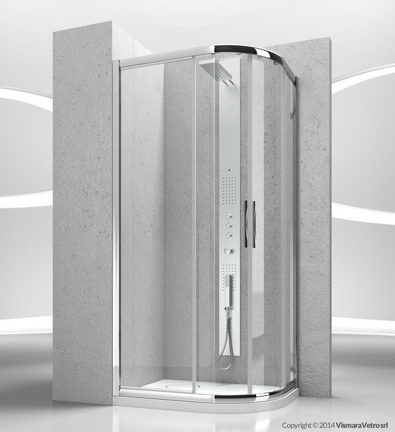 Corner semicircular crystal shower cabin with sliding door SERIE 6000: 6000D - VISMARAVETRO