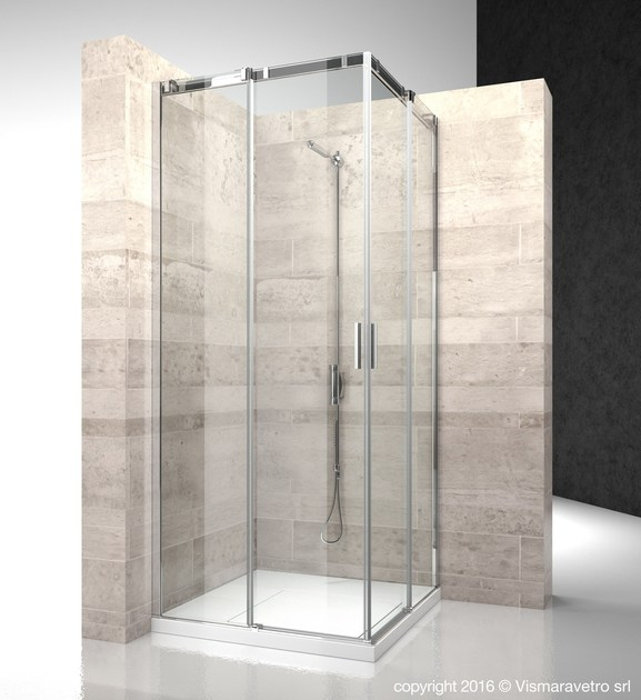 Contemporary style corner rectangular crystal shower cabin with sliding door SERIE 8000: CA+CA - VISMARAVETRO