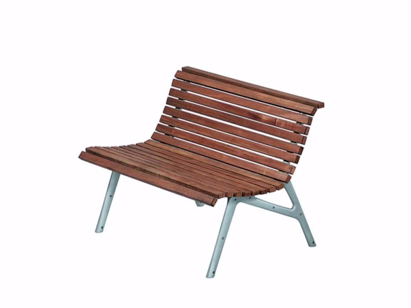 Aluminium and wood Bench with back SETES 120 - 479_O - Alias