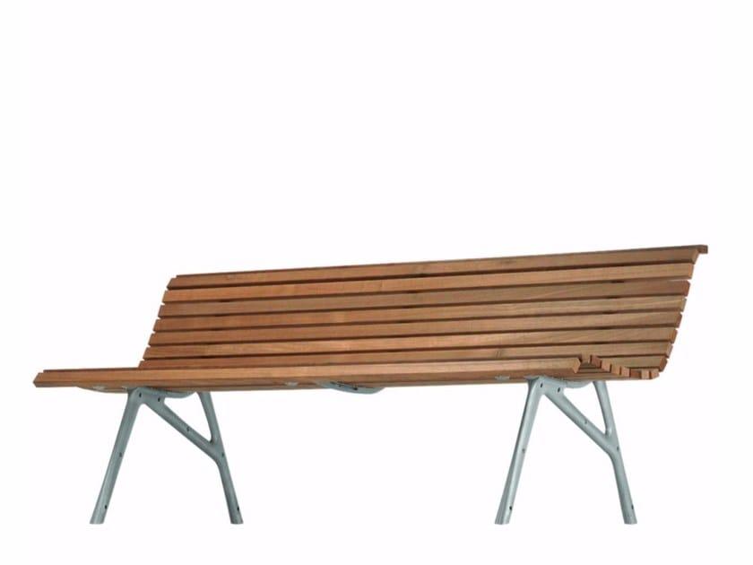 Aluminium and wood Bench with back SETES 200 - 480_O - Alias
