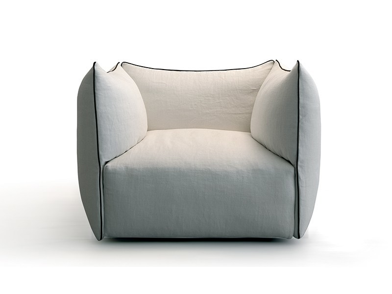 Upholstered cotton armchair with armrests SETTANTA | Armchair - Saba Italia