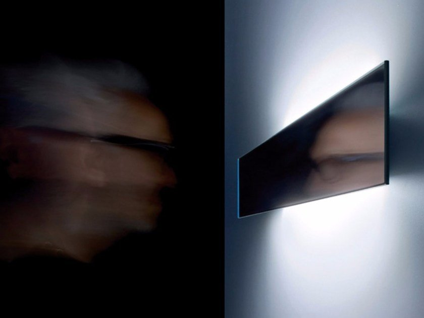 LED mirror and metal wall lamp SHADE by DAVIDE GROPPI