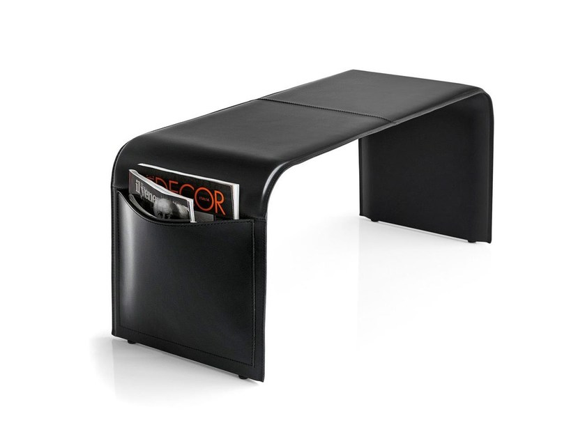 Upholstered tanned leather bench SHAPE - Calligaris