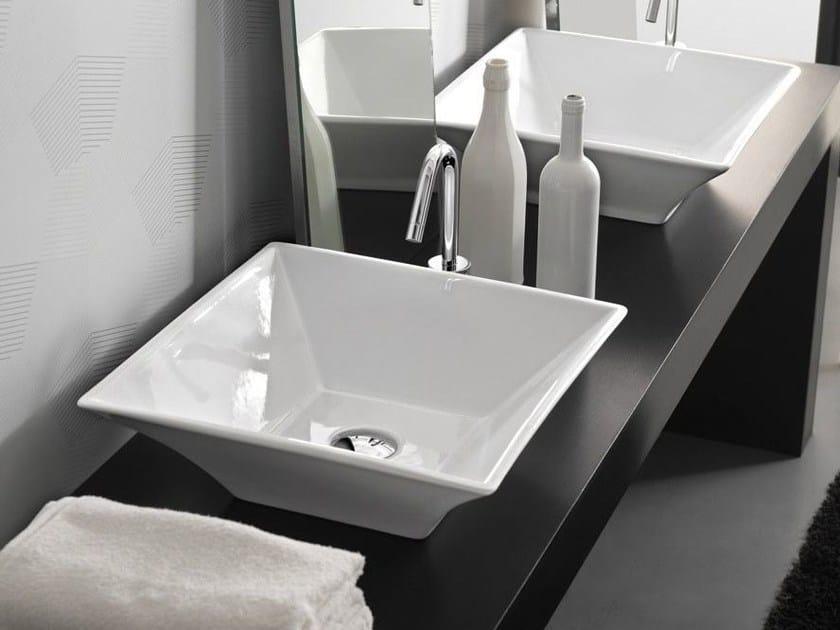 Countertop square ceramic washbasin SHED - Hidra Ceramica