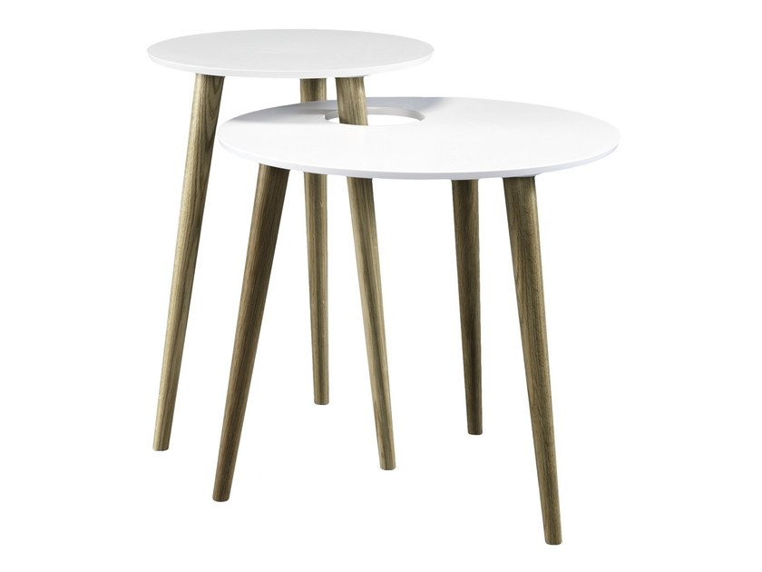 Stackable lacquered oak side table SHELL - AZEA