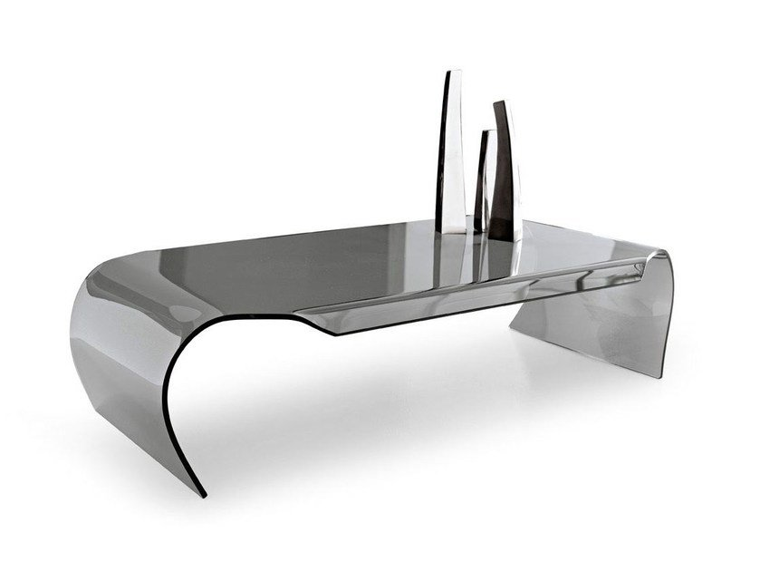 Low glass coffee table SHELL - Calligaris