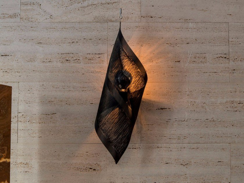 Metallic fabric wall light SHELL - Placidia