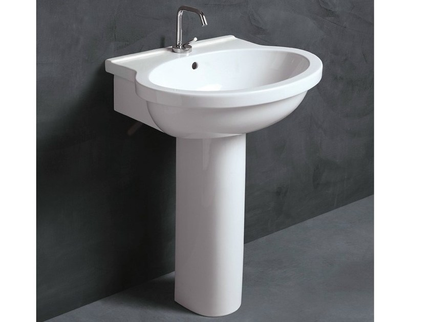 Pedestal ceramic washbasin SHORT 65 | Washbasin - Alice Ceramica