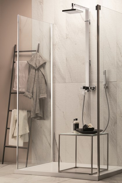 Shower panel with overhead shower SHOWER COLUMNS | Shower panel with hand shower by NEWFORM