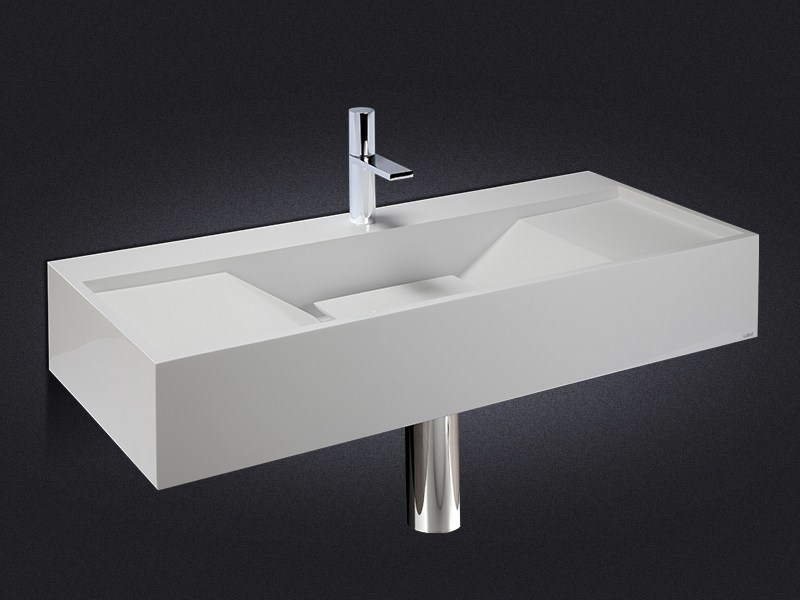 Rectangular wall-mounted resin washbasin SIDES - Vallvé Bathroom Boutique