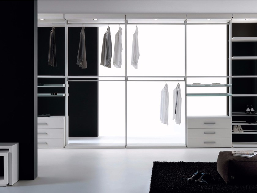 Sectional melamine-faced chipboard walk-in wardrobe SIDUS - RES