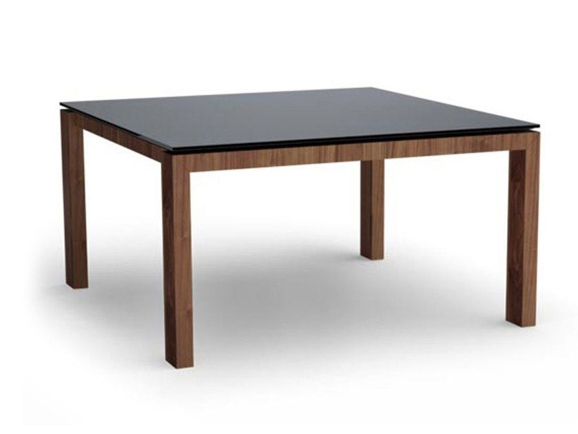 Square wood and glass table SIGMA | Square table - Calligaris