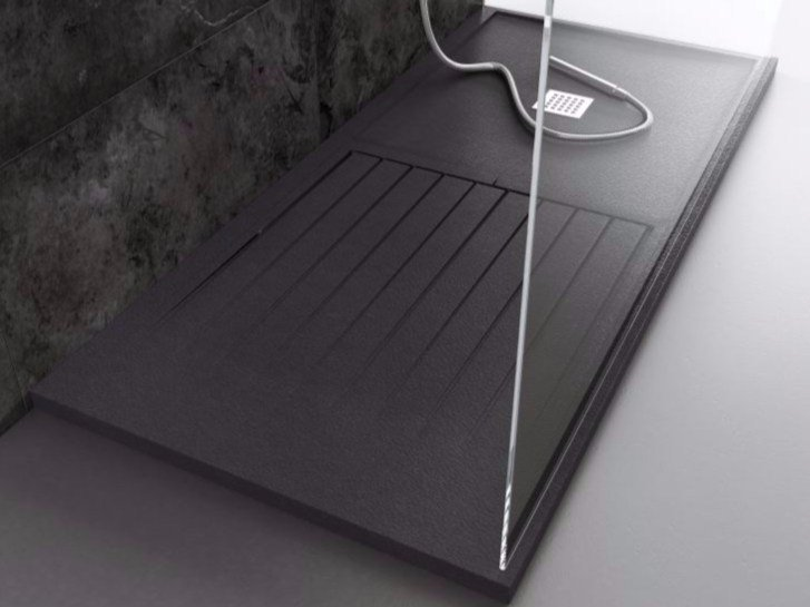 Anti-slip rectangular custom Silexpol® shower tray SILEX MIXTO - Fiora