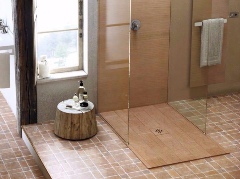 Piatto doccia filo pavimento incassato rettangolare in silexpol silex rustica extrapiano fiora - Piatto doccia incassato nel pavimento ...
