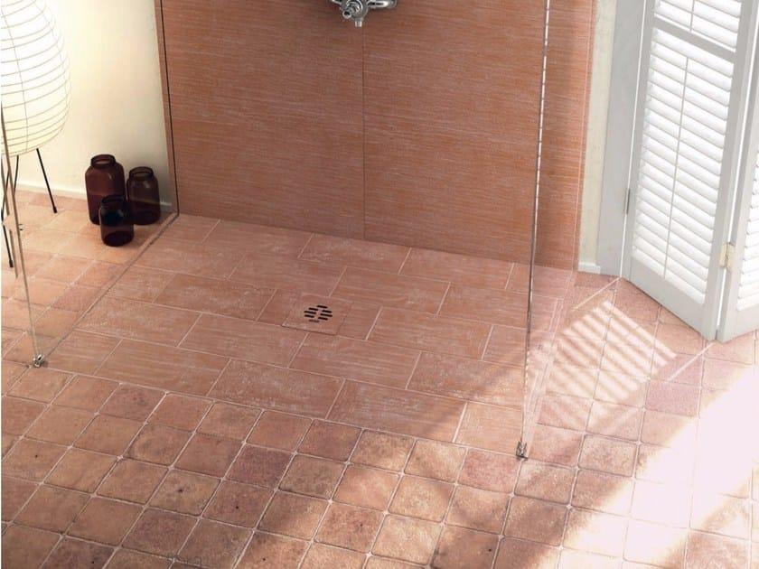Flush fitting built-in rectangular Silexpol® shower tray SILEX RUSTICA EXTRAFLAT - Fiora
