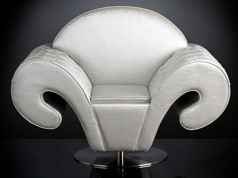 Swivel fabric armchair with armrests SILHOUETTE | Swivel armchair - VGnewtrend