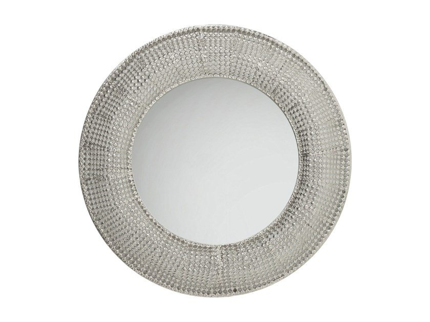 Round wall-mounted framed mirror SILVER PEARLS Ø 100 - KARE-DESIGN