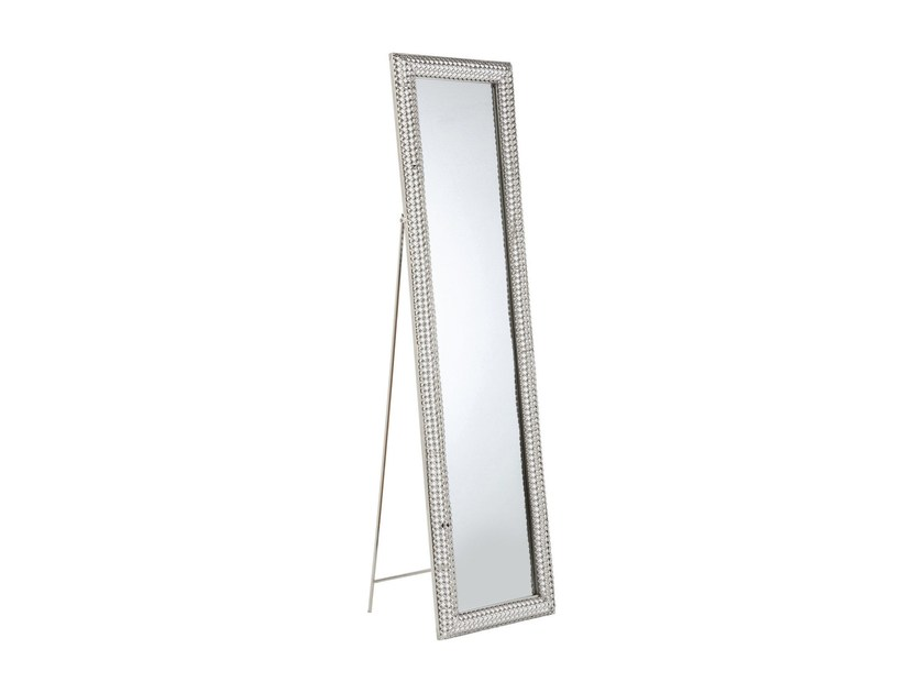Freestanding rectangular framed mirror SILVER PEARLS 180 x 48 by KARE-DESIGN