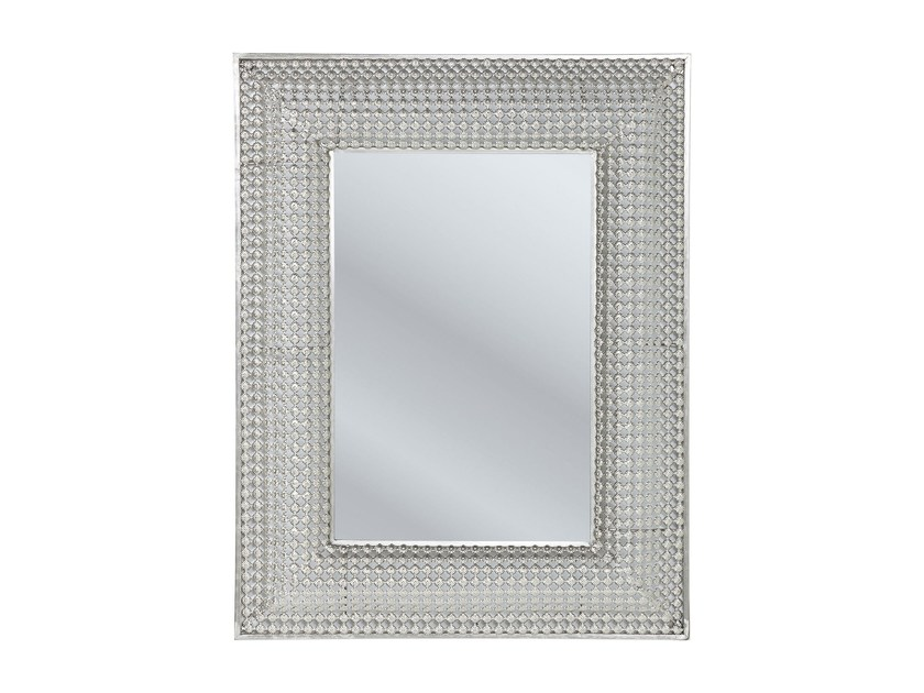 Rectangular wall-mounted framed mirror SILVER PEARLS 90 x 70 - KARE-DESIGN