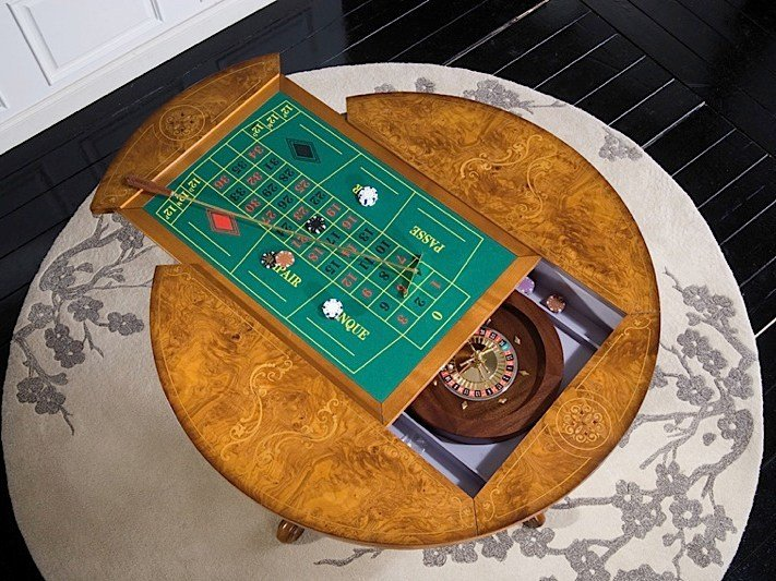 Round solid wood backgammon table SILVIA | Backgammon table - Arvestyle